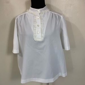 VTG 70s WHITE LACE TRIM TOP SIZE MEDIUM KITSCHY